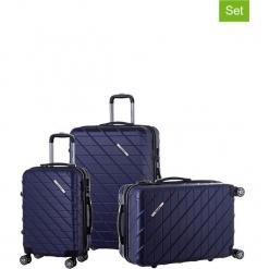 Zestaw walizek w kolorze granatowym - 3 szt. Niebieskie walizki Teddy Bear, z materiału. W wyprzedaży za 649,95 zł.