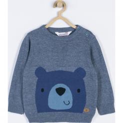 Sweter. Niebieskie swetry chłopięce GRIZZLY BEAR, z aplikacjami, z bawełny. Za 69,90 zł.