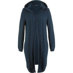 Długi sweter rozpinany z kapturem bonprix ciemnoniebieski. Niebieskie swetry rozpinane damskie marki bonprix. Za 89,99 zł.