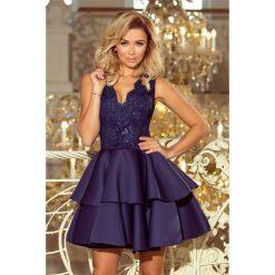 GLAMOUR - ekskluzywna sukienka z koronkowym dekoltem i pianką - GRANATOWA. Niebieskie sukienki balowe numoco, s, z haftami, z koronki, rozkloszowane. Za 297,00 zł.