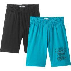 Odzież chłopięca: Krótkie spodenki shirtowe (2 pary) bonprix czarny + ciemnoturkusowy