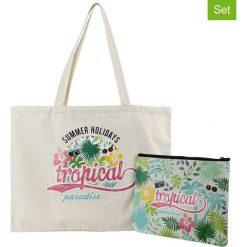 Shopper bag damskie: 2-częściowy w kolorze kremowym ze wzorem - 21,5 x 28,5 cm