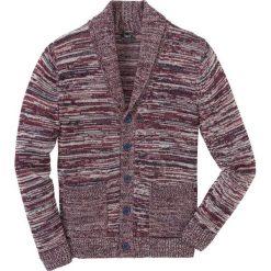 Sweter rozpinany melanżowy z szalowym kołnierzem Regular Fit bonprix ciemnoniebiesko-czerwono-biały melanż. Niebieskie kardigany męskie bonprix, l, melanż. Za 109,99 zł.