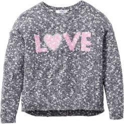 Sweter dzianinowy melanżowy bonprix antracytowo-biel wełny melanż. Czarne swetry dziewczęce marki bonprix, w paski, z dresówki. Za 59,99 zł.