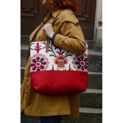 Shopper bag damskie: Shopper Czerwony Gobelin Etno
