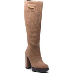 Kozaki LOVE MOSCHINO - JA2603BH06JF0209 Ardesia. Brązowe buty zimowe damskie Love Moschino, ze skóry, przed kolano, na wysokim obcasie, na obcasie. Za 1349,00 zł.