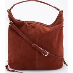 Skórzana torebka z regulowaną głębokością - Brązowy. Brązowe torebki klasyczne damskie Reserved. Za 399,99 zł.