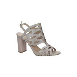Rzymianki damskie: Sandały Kordel  Beżowe sandały skórzane zabudowane ażurowe na obcasie  1701