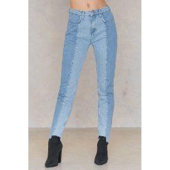 NA-KD Jeansy z panelami - Blue. Niebieskie proste jeansy damskie marki NA-KD, w paski, z bawełny. W wyprzedaży za 48,59 zł.