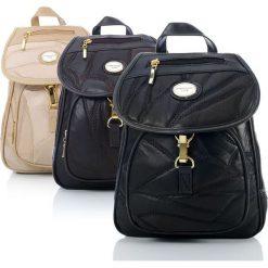 Elegancki skórzany plecak damski Patchwork 23413-1. Czarne plecaki damskie producent niezdefiniowany, z nylonu, eleganckie. Za 139,00 zł.