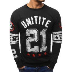 Bluzy męskie: Bluza męska z nadrukiem czarna (bx1441)