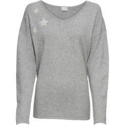 Swetry klasyczne damskie: Sweter dzianinowy z aplikacjami bonprix szary melanż