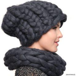 Czapki zimowe damskie: Szary komplet czapka komin z wełny merynosów