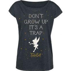 Piotruś Pan Tinker Bell - Don't Grow Up Koszulka damska odcienie ciemnoszarego. Szare bluzki asymetryczne Piotruś Pan, s, z nadrukiem, z dekoltem w łódkę. Za 99,90 zł.
