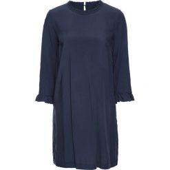 Sukienki: Sukienka z falbanką z wiskozy, bez podszewki bonprix ciemnoniebieski
