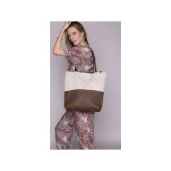 Torba duo  brąz. Białe torebki klasyczne damskie drops, z bawełny. Za 103,20 zł.