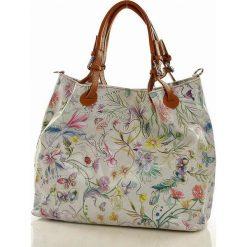 Kuferki damskie: Skórzana torebka shopper MAZZINI - LINDA biała kwiecista