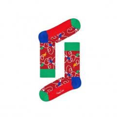 Skarpetki Happy Socks - Holiday XMAS (HLI01-4000). Różowe skarpetki męskie Happy Socks, w kolorowe wzory, z bawełny. Za 34,90 zł.