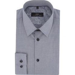 Koszula MICHELE KMNE000021. Szare koszule męskie na spinki marki S.Oliver, l, z bawełny, z włoskim kołnierzykiem, z długim rękawem. Za 199,00 zł.