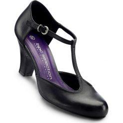 Czółenka skórzane z paskiem bonprix czarny. Czarne buty ślubne damskie bonprix. Za 129,99 zł.