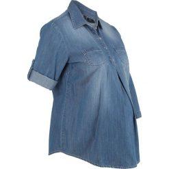 """Bluzka ciążowa z bawełny bonprix niebieski """"medium bleached"""". Niebieskie bluzki ciążowe bonprix, z bawełny, moda ciążowa. Za 74,99 zł."""