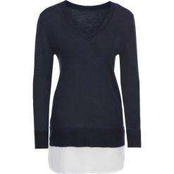 Swetry klasyczne damskie: Sweter 2 w 1 bonprix ciemnoniebiesko-biały