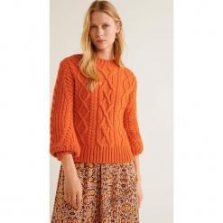 Mango - Sweter Orangin. Pomarańczowe swetry klasyczne damskie Mango, l, z dzianiny, z okrągłym kołnierzem. Za 199,90 zł.