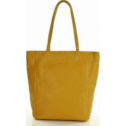 Shopper bag damskie: Modny shopper na ramię skórzany MARCO MAZZINI żółty senape