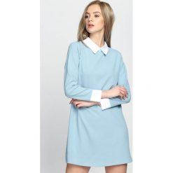 Sukienki: Niebieska Sukienka White Collared