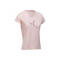 Koszulka krótki rękaw Gym & Pilates damska. Czerwone bluzki sportowe damskie marki DOMYOS, xs, z bawełny, z krótkim rękawem. W wyprzedaży za 24,99 zł.