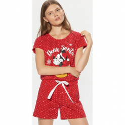 Piżama Mickey Mouse - Czerwony. Czerwone piżamy damskie marki DOMYOS, z elastanu. Za 69,99 zł.