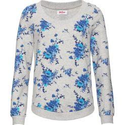 Bluza z nadrukiem, długi rękaw bonprix jasnoszary melanż z nadrukiem. Szare bluzy rozpinane damskie bonprix, melanż, z długim rękawem, długie. Za 49,99 zł.