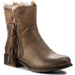 Botki JENNY FAIRY - WS16031-19 Beżowy Ciemny. Brązowe buty zimowe damskie Jenny Fairy, z materiału, na obcasie. Za 119,99 zł.