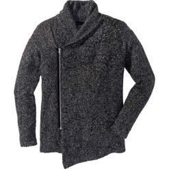 Sweter rozpinany z szalowym kołnierzem Slim Fit bonprix szary melanż. Szare kardigany męskie marki bonprix, l, melanż. Za 149,99 zł.
