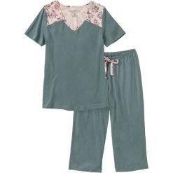 Piżamy damskie: Piżama ze spodniami 3/4 bonprix zielony eukaliptusowy z nadrukiem