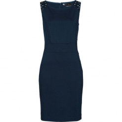Sukienka shirtowa z aplikacją bonprix ciemnoniebieski. Niebieskie sukienki z falbanami bonprix, z aplikacjami, dopasowane. Za 79,99 zł.