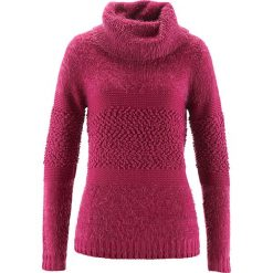 Sweter z golfem bonprix jeżynowo-czerwony. Czerwone golfy damskie bonprix, z dzianiny. Za 109,99 zł.