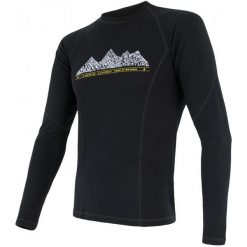 Odzież termoaktywna męska: Sensor Koszulka Termoaktywna Z Długim Rękawem Merino Df Adventure M Black Xxl
