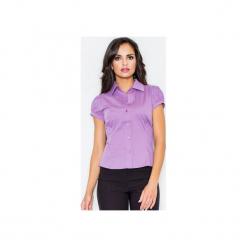 Koszula M026 Fiolet. Fioletowe koszule damskie FIGL, m, z bawełny, klasyczne, z klasycznym kołnierzykiem, z krótkim rękawem. Za 73,00 zł.