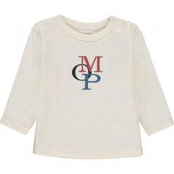 Koszulka w kolorze białym. Białe bluzki dziewczęce bawełniane marki Marc O'Polo Junior, z nadrukiem, z okrągłym kołnierzem, z długim rękawem. W wyprzedaży za 42,95 zł.