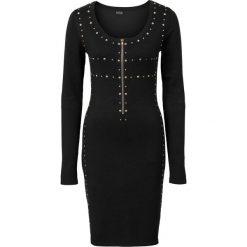 Sukienka dzianinowa z cekinami i zamkiem bonprix czarny. Czarne sukienki balowe bonprix, z dzianiny. Za 89,99 zł.
