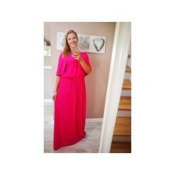 SUKIENKA LONGIN MAXI FUKSJA. Czerwone długie sukienki marki Meleksima, l, z materiału, z długim rękawem, oversize. Za 135,20 zł.