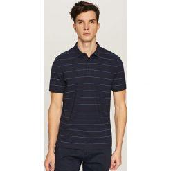Koszule męskie: Koszula polo w paski – Granatowy