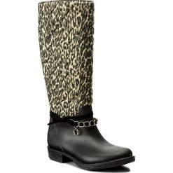Kalosze GUESS - Ralan FLRAL3 RUB11 LEOPA. Czarne buty zimowe damskie marki Guess, z materiału. W wyprzedaży za 319,00 zł.