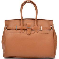 Torebki i plecaki damskie: Skórzana torebka w kolorze jasnobrązowym – (S)28 x (W)37 x (G)17 cm