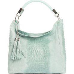 Torebki klasyczne damskie: Skórzana torebka w kolorze turkusowym – 38 x 36 x 14 cm