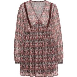 Bluzki damskie: Bluzka tunikowa bonprix ciemnoczerwony wzorzysty