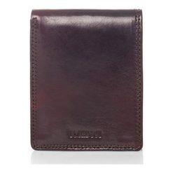 Portfele męskie: Skórzany portfel w kolorze ciemnobrązowym – 9 x 11 x 1,5 cm