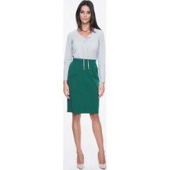 Spódnice wieczorowe: Zielona Spódnica Ołówkowa z Atrapą Kieszeni