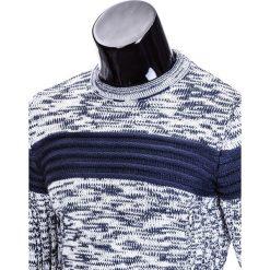 Swetry męskie: SWETER MĘSKI E99 – BIAŁY/GRANATOWY